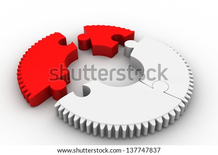 gear of jigsaw puzzles with two red piece - stock photo