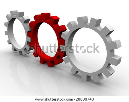 Gear on a white background for connection of mechanisms - stock photo