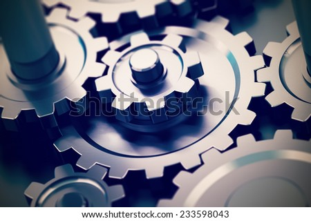 gear or cogwheel working together, movement transmission. Concept of teamwork  - stock photo