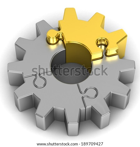 gear puzzle on white background - stock photo
