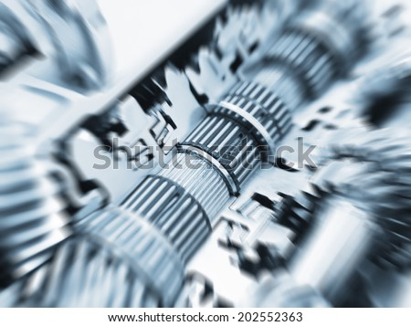 gear set with motion effect - stock photo