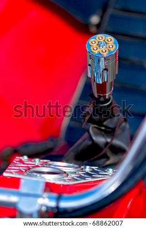 Gear shift - Motorbike closeup. - stock photo