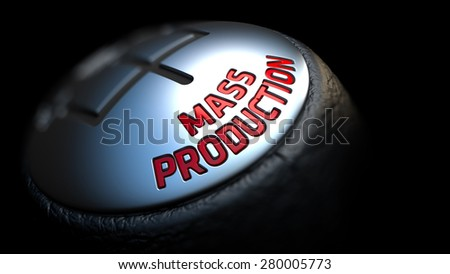 Gear Stick with Red Text Mass Production on Black Background. Selective Focus. 3D Render. - stock photo