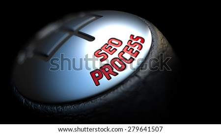 Gear Stick with Red Text Seo Process on Black Background. Selective Focus. 3D Render. - stock photo