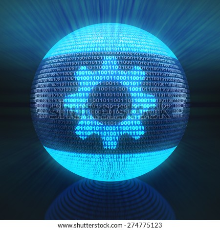 Gear symbol on globe formed by binary code, 3d rende - stock photo