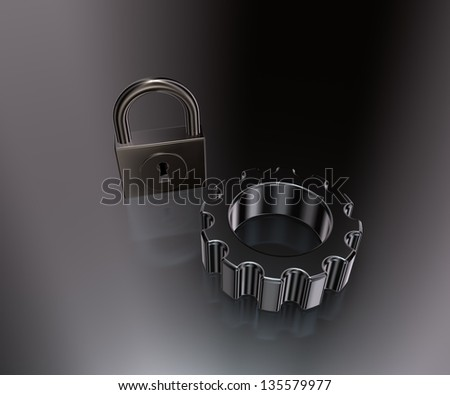 gear wheel and padlock on metal surface - 3d illustration - stock photo