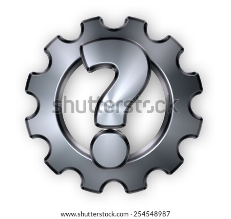 gear wheel and question mark  - 3d illustration - stock photo