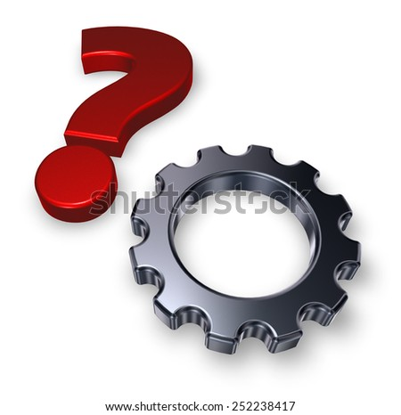 gear wheel and question mark on white background - 3d illustration - stock photo