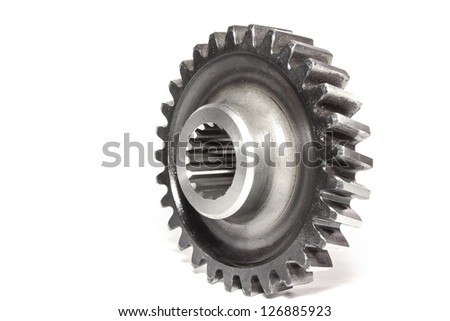 Gear wheel isolated on white background - stock photo