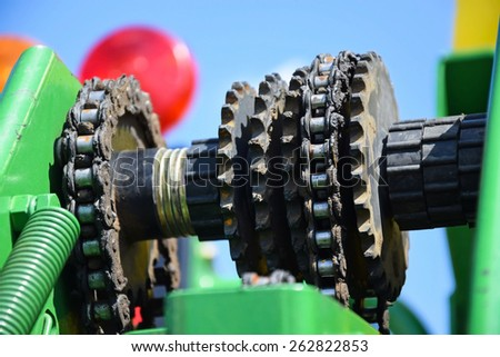 Gear wheel part of an agricultural machinery - stock photo
