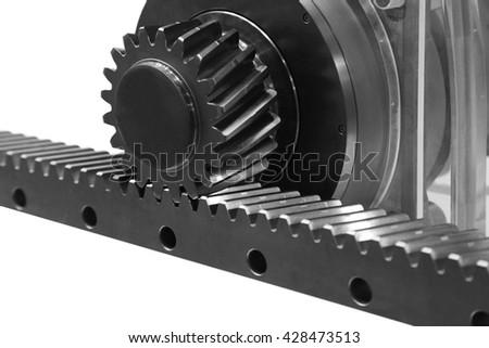 Gear wheel transmits energy flat has a rack - stock photo