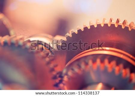 gear wheels close-up - stock photo