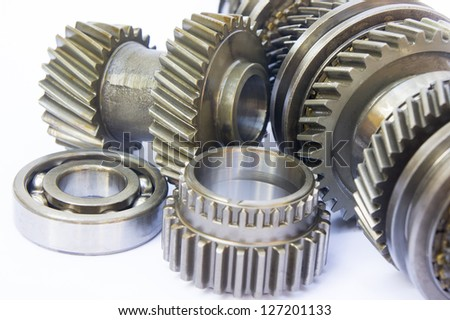 gearbox component on isolated background - stock photo