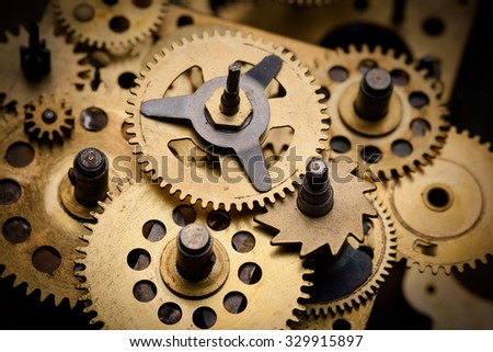Gears and cogs close-up - stock photo