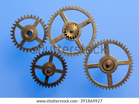 Gears and cogs macro - stock photo