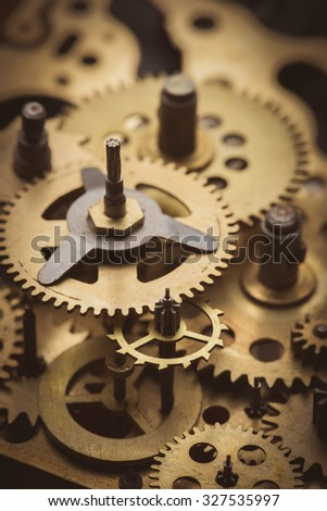 Gears and cogs macro close-up - stock photo