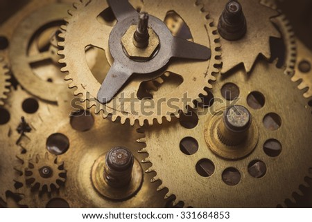 Gears and cogs macro close up - stock photo