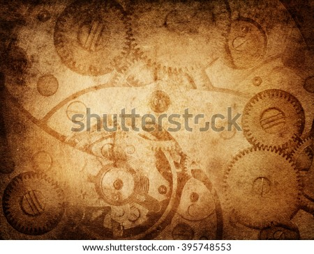 Gears and cogs worn paper background - stock photo