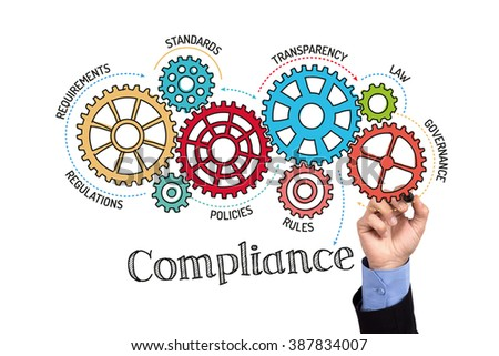 Gears and Compliance Mechanism on Whiteboard - stock photo