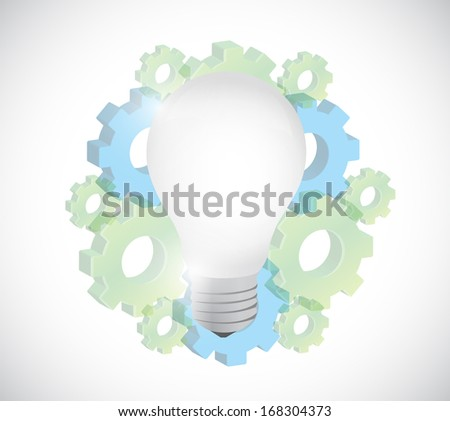 gears and light bulb illustration design over a white background - stock photo