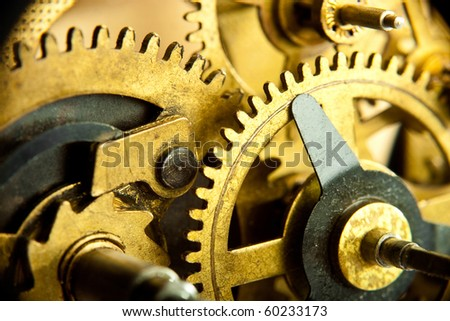 gears from mechanism closeup - stock photo
