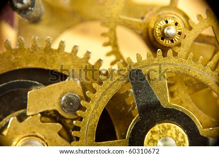 gears from old mechanism closeup - stock photo