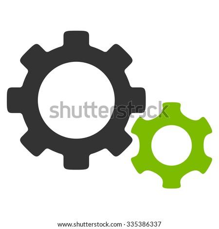 Gears glyph icon. Style is bicolor flat symbol, eco green and gray colors, rounded angles, white background. - stock photo