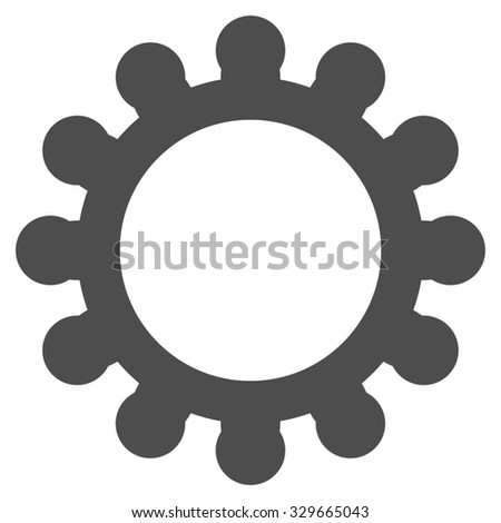 Gears glyph icon. Style is flat symbol, gray color, rounded angles, white background. - stock photo