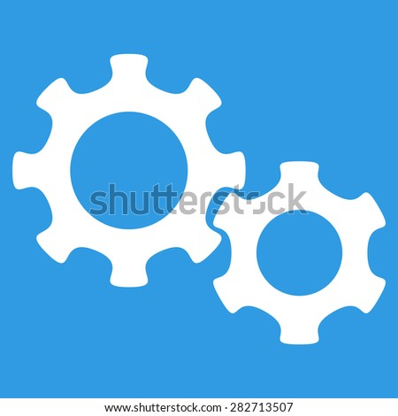 Gears icon from Basic Plain Icon Set. Style: flat symbol icon, white color, rounded angles, blue background. - stock photo