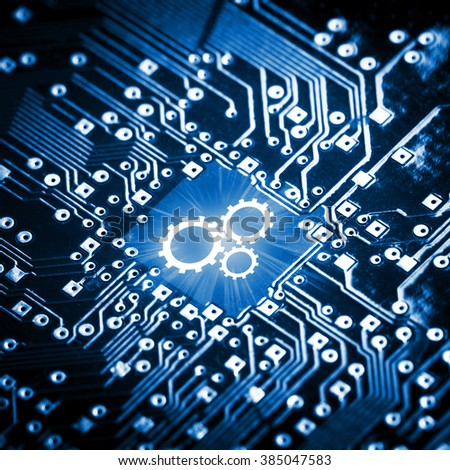 Gears icon on computer chip - technology concept - stock photo