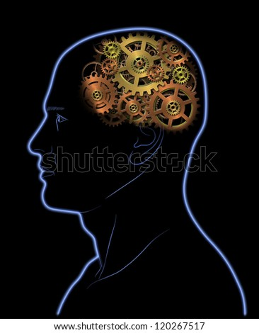 Gears In The Head - stock photo