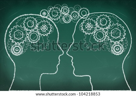 Gears in The Human Head drawing on the chalkboard, Thinking Communication Concept - stock photo