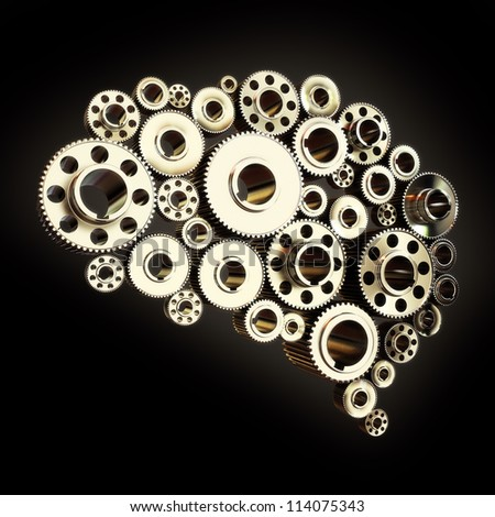 Gears in the shape of a human brain slightly angled - stock photo