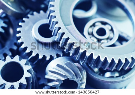 gears, nuts and bolts - stock photo