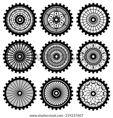 gears set in the style of steampunk - stock photo