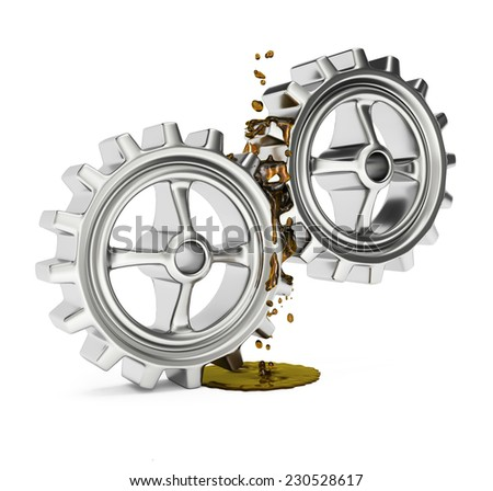 Gears with grease isolated on white background. 3d render - stock photo