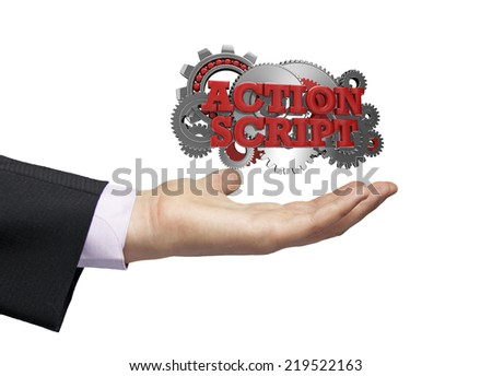 gears with text action script over a businessman hand - stock photo