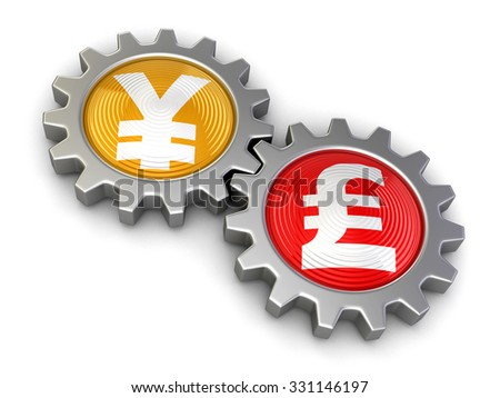 Gears with yen and Pound (clipping path included) - stock photo