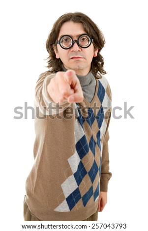geek man pointing isolated on white background - stock photo