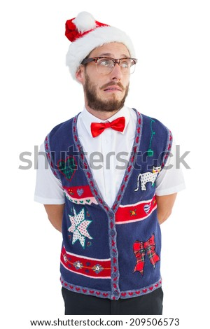Geeky hipster in santa hat on white background - stock photo
