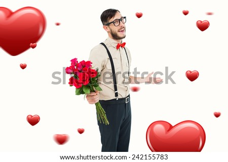 Geeky hipster offering bunch of roses against hearts - stock photo