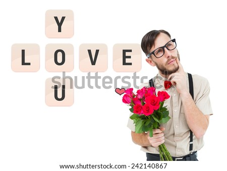 Geeky hipster offering bunch of roses against love you tiles - stock photo