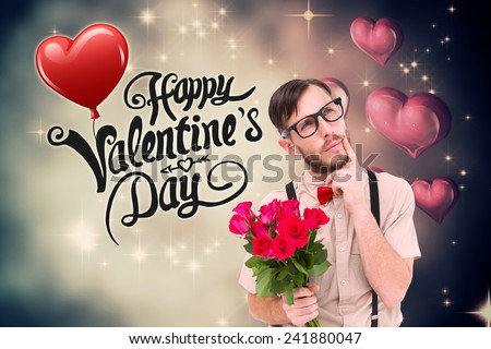Geeky hipster offering bunch of roses against valentines heart design - stock photo