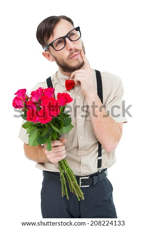 Geeky hipster offering bunch of roses on white background - stock photo