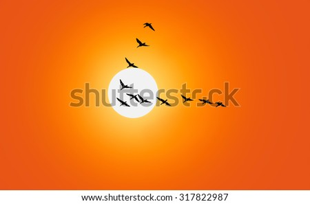 Geese are flying in v-formation in front of a red sky - stock photo