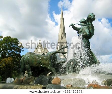Gefion Fountain Copenhagen - Denmark - stock photo