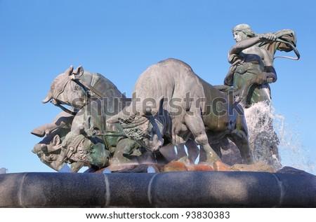 Gefion Fountain, Copenhagen, Denmark - stock photo