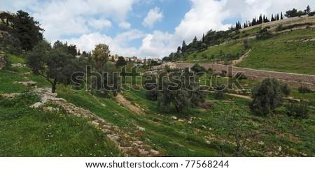 Gehenna (Hinnom) Valley near the Old City in Jerusalem - stock photo