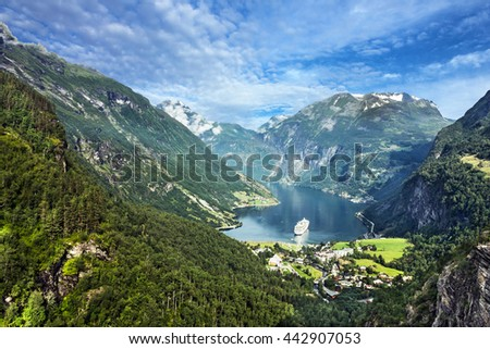 Geiranger fjord, Norway. Mountain sea view - stock photo
