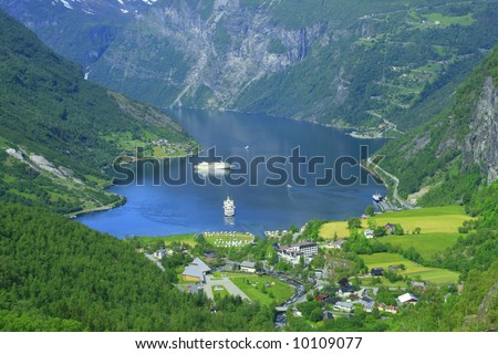 Geiranger is the one of the beautiful place in Norway with tourist ships - stock photo